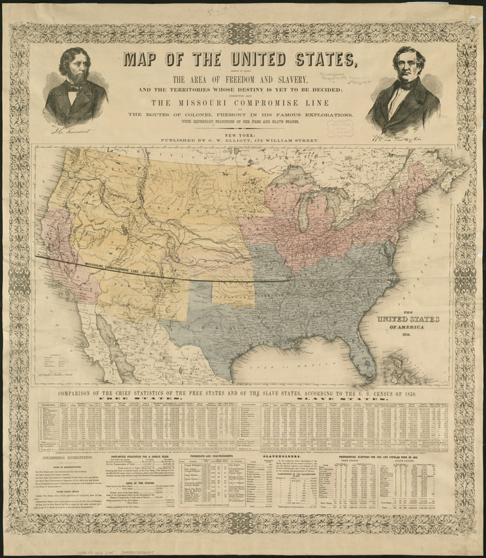 Map of the United States, showing by colors the area of freedom and slavery, and the territories whose destiny is yet to be decided