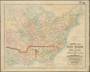 Complete map of the rail roads and water courses in the United States & Canada