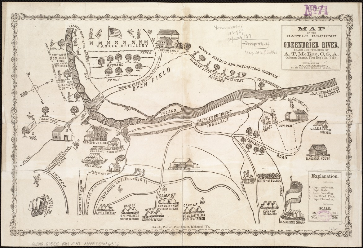 Map of the battle ground of Greenbrier River