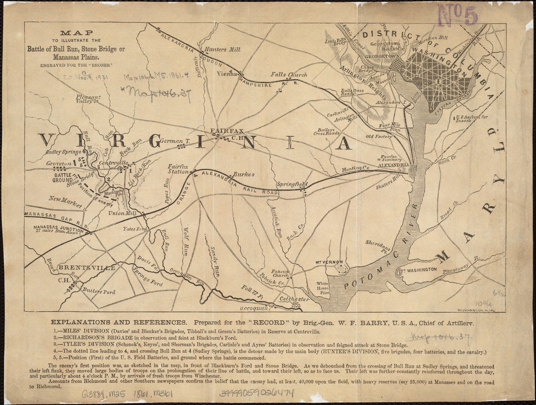 Map to illustrate the battle of Bull Run, Stone Bridge or Manassas Plains