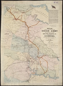 Map showing the advance of the Union army under the command of Lieut.-Gen. Grant, also, battle-fields, fortifications, etc. in the vicinity of Richmond