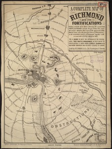 A complete map of Richmond and its fortifications within a circle of 12 miles showing the numerous forts, batteries and the range of their fire