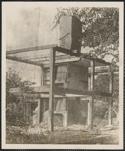 Chimney and frame of Chandler Gray House, west corner of Old King's Highway and Wharf Lane, Yarmouth Port, Mass.