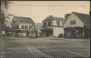 North Main Street and Bridge Street (Route 28) in South Yarmouth, Mass. showing several businesses with automobiles in front