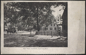 Main Street, South Yarmouth, Mass., showing houses, church, and horse-drawn carriage