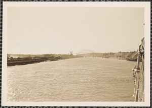 Cape Cod Canal with bridge in background