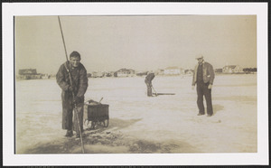 Quahoging through the ice of Lewis Bay, West Yarmouth, Mass. 1940