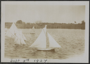 Model sailboat races on Mill Pond, West Yarmouth, Mass.