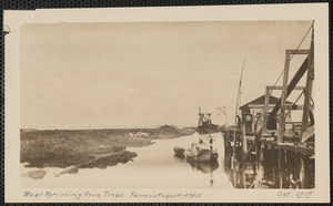 Boat returning from traps, end of Wharf Lane, Yarmouth Port, Mass.