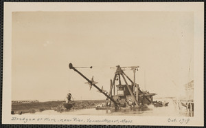Dredge at work near pier, end of Wharf Lane, Yarmouth Port, Mass.