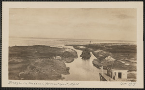 Dredger in channel, end of Wharf Lane, Yarmouth Port, Mass.