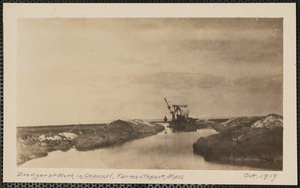 Dredge at work in channel, end of Wharf Lane, Yarmouth Port, Mass.