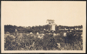 Ancient Cemetery Yarmouth Port, Helen (Crowell) Kelly standing beside John Crowell grave