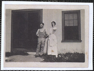 Henry and Edith Monroe in front of the Cape Cod Laundry