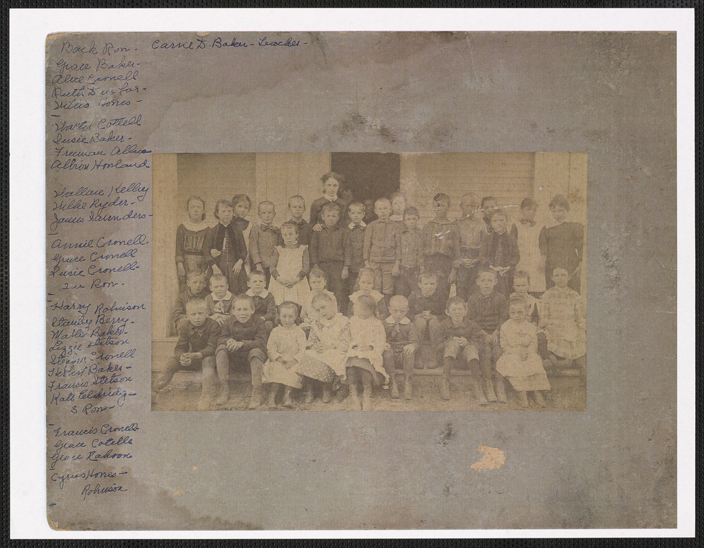 South Yarmouth School class photograph, Carrie D. Baker, teacher