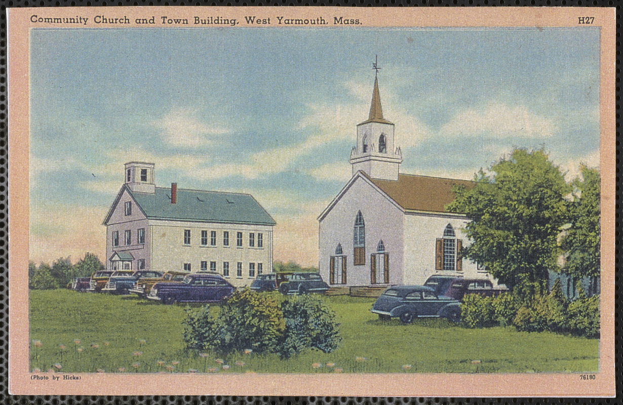 West Yarmouth Congregational Church on right, West Yarmouth School on left