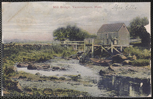 Herbert Lovell's fish shack and mill bridge dividing Yarmouth Port and Barnstable, Massachusetts