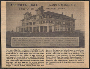 Aberdeen Hall, Great Island, West Yarmouth, Massachusetts