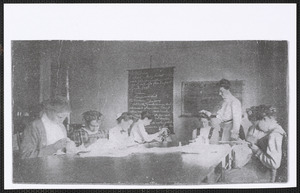 1910 sewing class at Yarmouth school house, Yarmouthport, Mass.