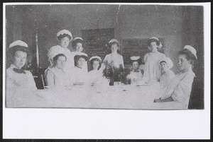1910 cooking class at Yarmouth school house, Yarmouthport, Mass.