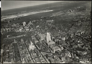 Aerial panoramic view of Boston (Back Bay, downtown, East & South Boston)