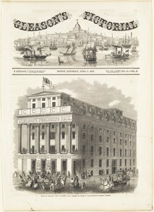 View of Gleason's new publishing hall, corner of Tremont and Bromfield Streets, Boston