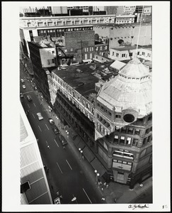 Overhead view of old Jordan Marsh building, Washington Street