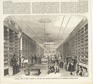 Interior view of John P. Jewett & Co.'s new and spacious bookstore, No. 117 Washington Street, Boston