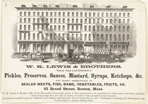 W. K. Lewis & Brothers, wholesale dealers in and manufacturers of pickles, preserves, sauces, mustard, syrups, ketchups, &c.