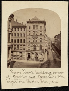 Revere Bank building, corner of Franklin and Devonshire Sts., before the Boston Fire, 1872