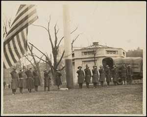 Flag raising ceremony on Boston Common, First Motor Corps, Mass. Nat. Guard. Poss. Police strike of 1919