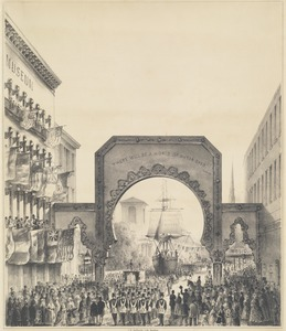 Boston water celebration, October 25, 1848. The procession passing the Boston Museum Tremont Street