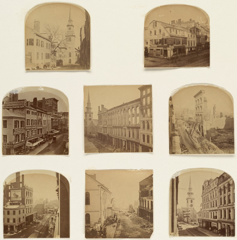 Before and after the Great Fire of 1872, Washington St.
