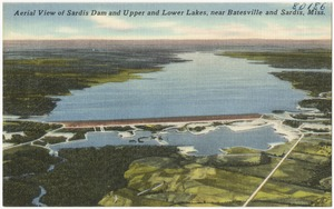 Aerial view of Sardis Dam and upper and lower lakes, near Batesville and Sardis, Miss.
