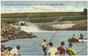 Fishing in the outlet works, Sardis Dam, near Batesville, Miss.