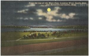 From the top of the main dam, looking West, Sardis Dam, near Batesville and Sardis, Miss.