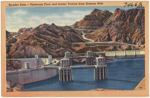 Boulder Dam -- Upstream Face and Intake Towers from Arizona side