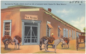 Ancient La Fonda which stood on site of present hotel, Santa Fe, New Mexico