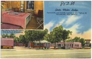 State Motor Lodge, conveniently and centrally located on U.S. Highway 66, Tucumcari, New Mexico