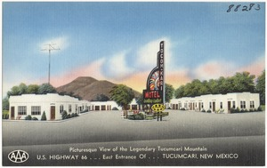 Tocom-Kari Motel, picturesque view of the legendary Tucumcari Mountain. U.S. Highway 66... East entrance of... Tucumcari, New Mexico