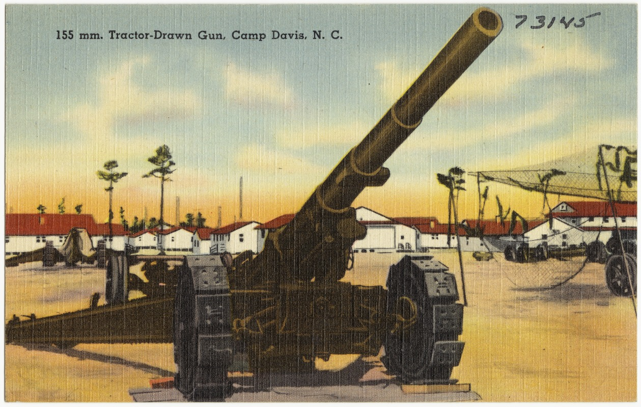 155 mm tractor drawn gun camp davis n c digital commonwealth