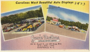 Carolinas most beautiful auto displays, Garvin Brothers Carolina Motor Company, Fayetteville, N. C.