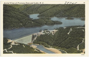 Aerial view of Fontana Dam and lake, N. C.