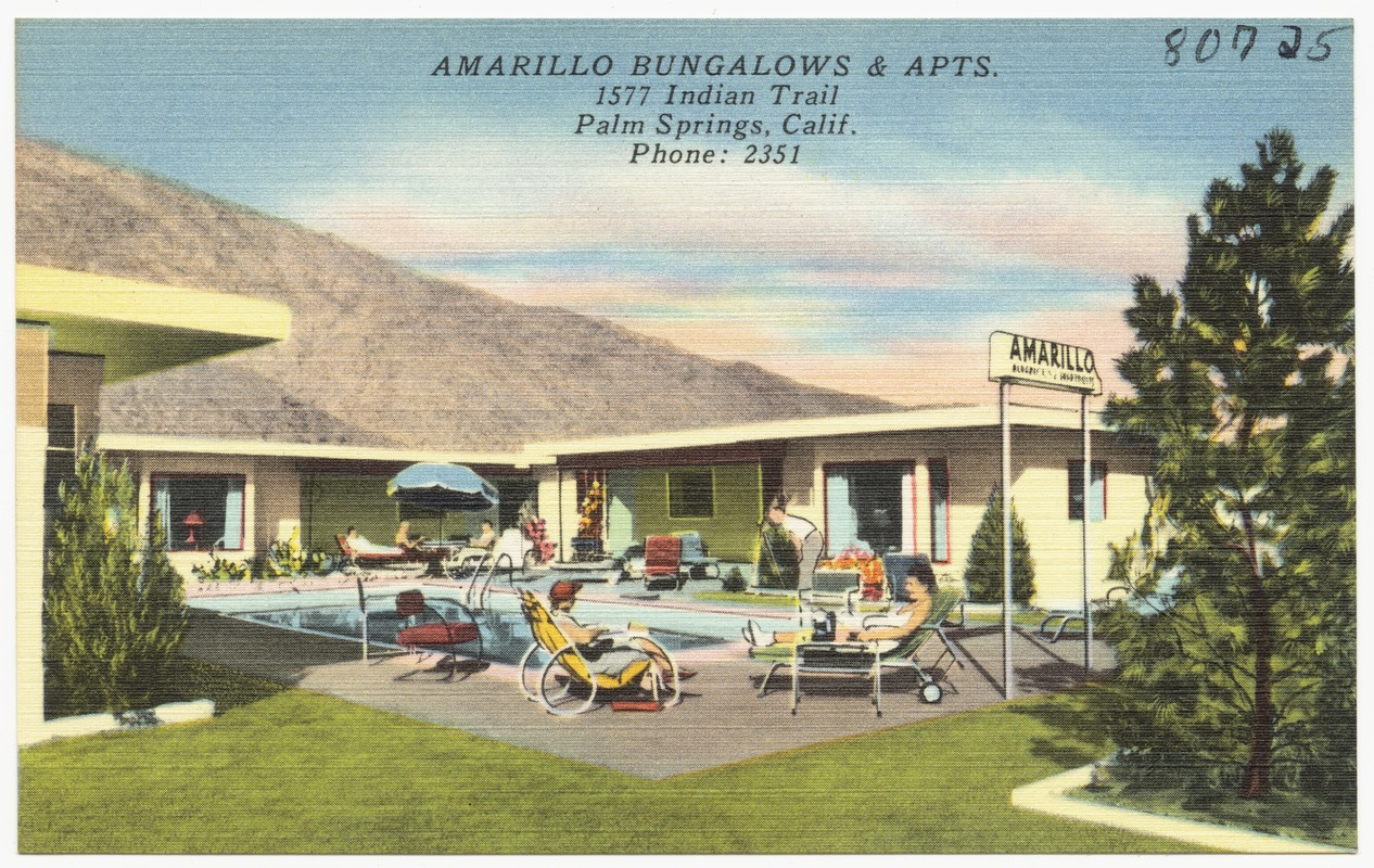 Amarillo Bungalows & Apts., 1577 Indian Trail, Palm Springs, Calif., Phone:2351