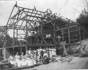 Barn raising, Allyn M. Seaver farm
