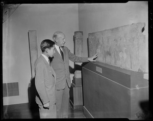 Crown Prince Akihito with a guide at the Museum of Fine Arts