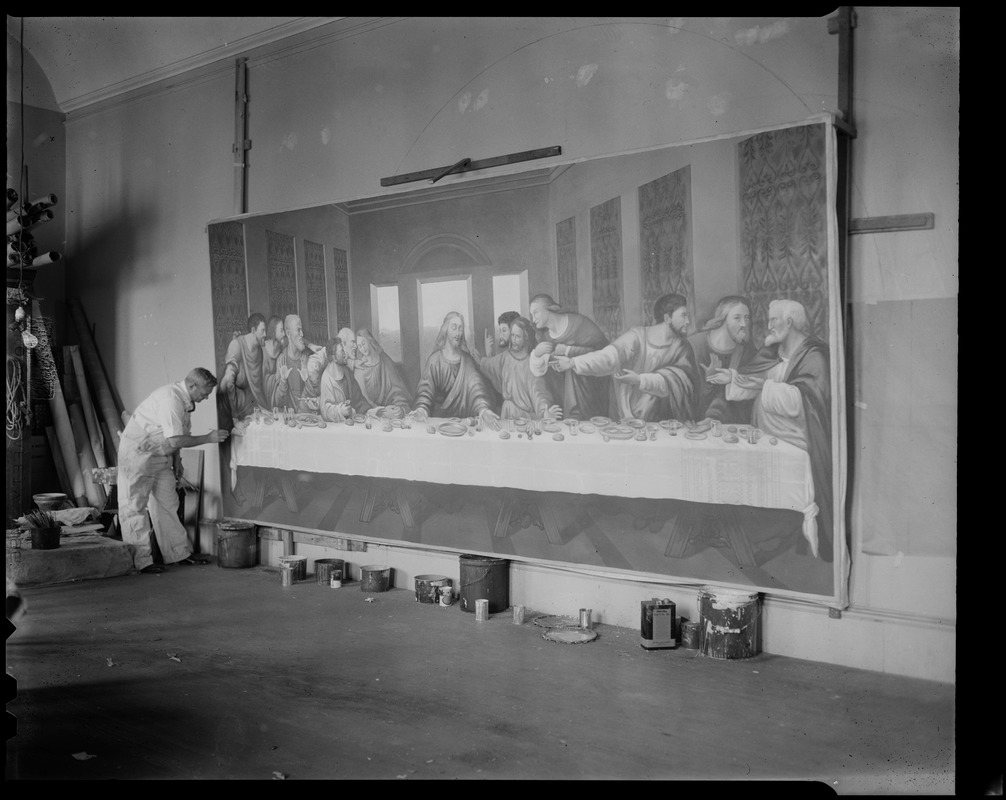 Gaston Goyette, famed ecclesiastical artist, winds up two months' work -- at 10 hours a day -- on a painting copied from da Vinci's Last Supper, which will be placed above the main altar of St. Gregory's Church in Dorchester