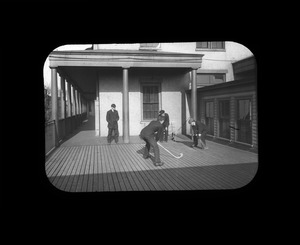 Field Hockey on the Deck, Perkins Institution, South Boston, ca. 1908