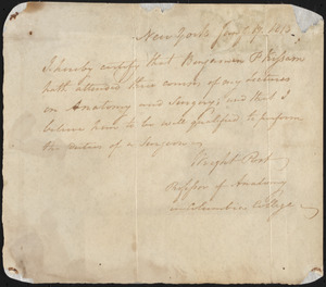Certificate of Completion for Dr. Benjamin P. Kissam, January 17, 1813