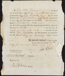 Pay Allotment for Jesse Cole, November 11, 1800